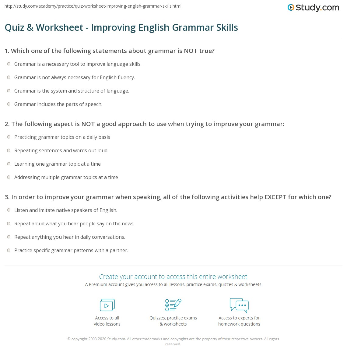 Quiz & Worksheet Improving English Grammar Skills