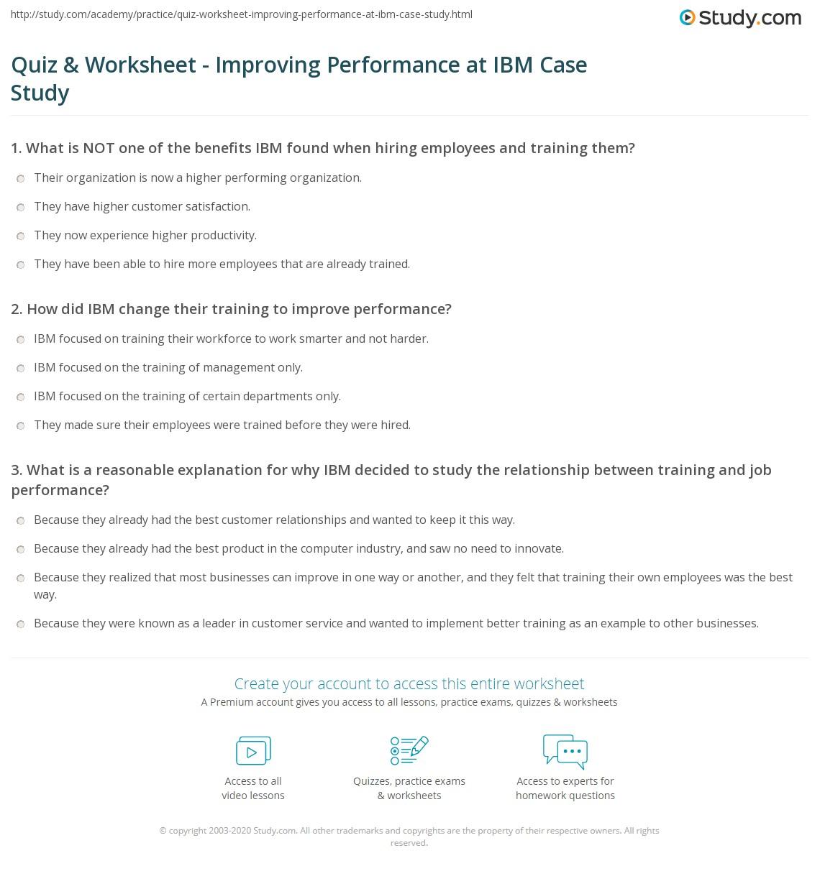 Quiz amp Worksheet Improving Performance At IBM Case Study Studycom Quiz Worksheet Improving Performance At Ibm Case Study Quiz Worksheet Improving Performance At Ibm Case Study