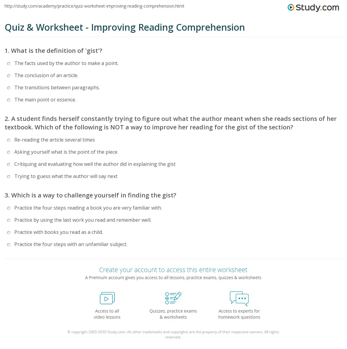 Worksheets Reading Comprehension Worksheets College quiz worksheet improving reading comprehension study com 1 a student finds herself constantly trying to figure out what the author meant when she reads sections of her textbook which f