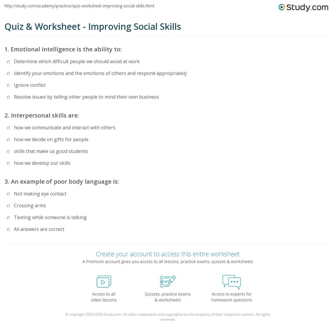 - Quiz & Worksheet - Improving Social Skills Study.com