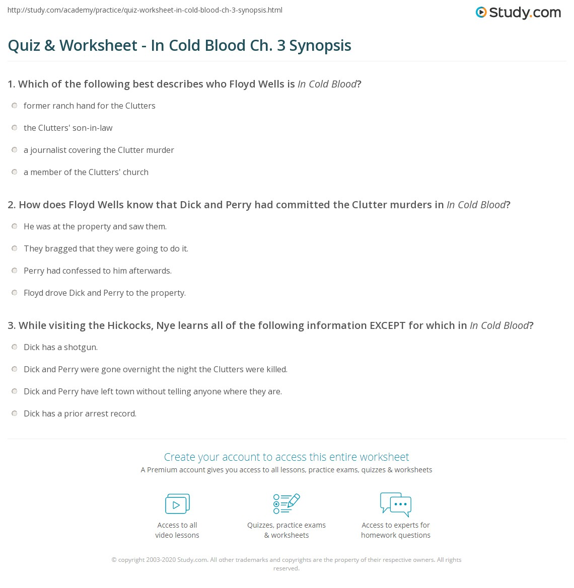 quiz worksheet in cold blood ch synopsis com print in cold blood chapter 3 summary worksheet
