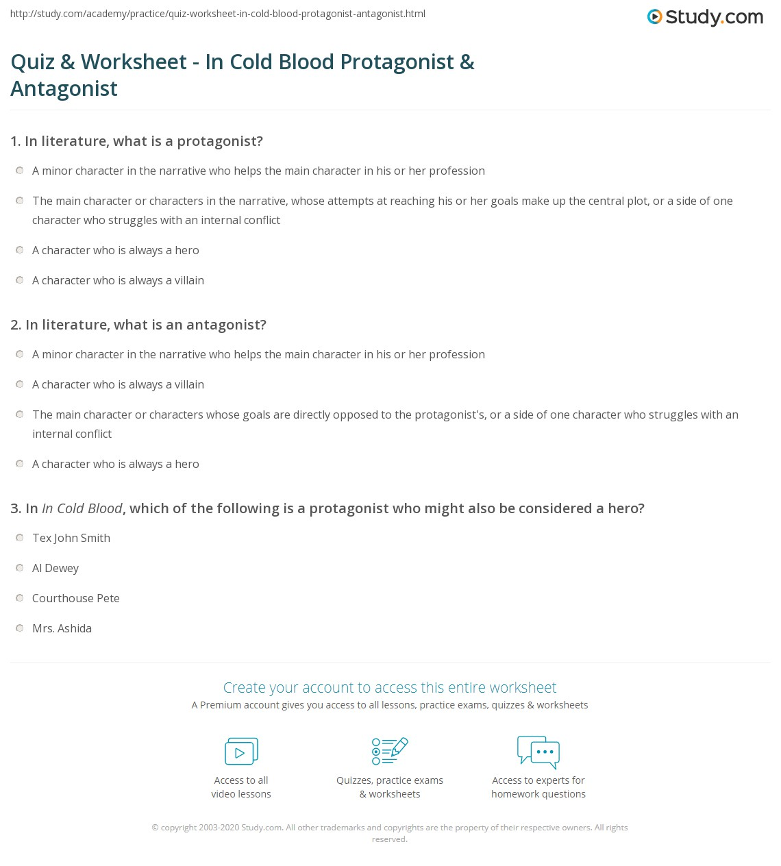 worksheet Protagonist And Antagonist Worksheet quiz worksheet in cold blood protagonist antagonist study com print worksheet