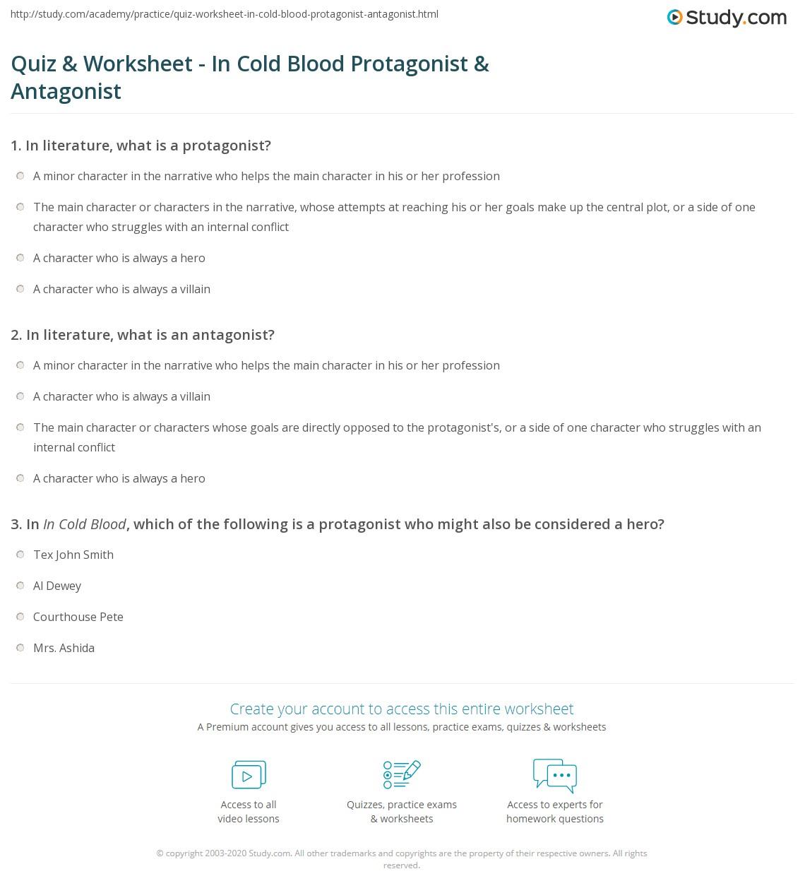 Quiz Worksheet In Cold Blood Protagonist Antagonist – Protagonist and Antagonist Worksheet
