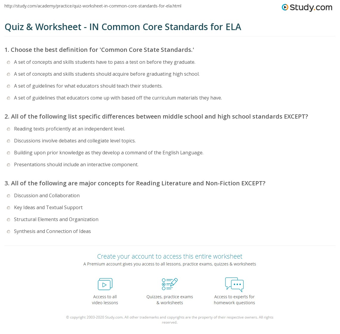 quiz & worksheet - in common core standards for ela | study