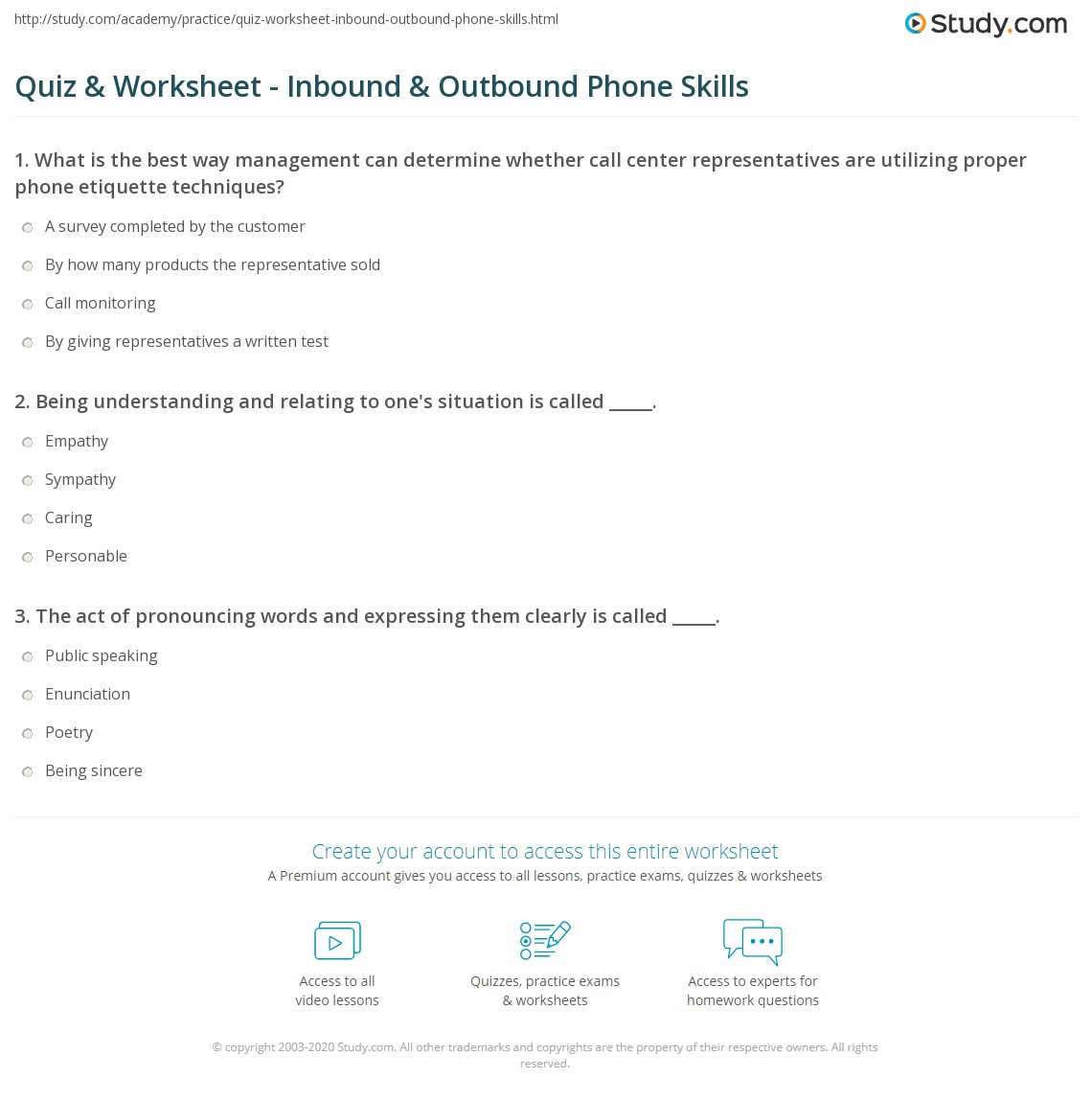 Print Developing Inbound & Outbound Telephone Skills Worksheet