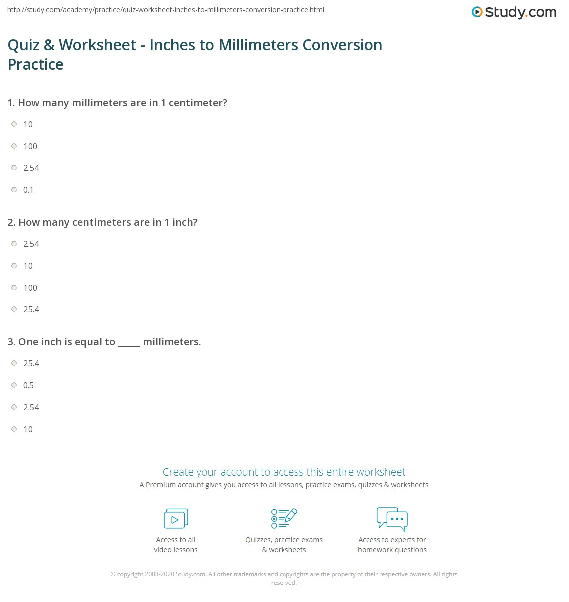 Worksheets Measurement Worksheets Inches quiz worksheet inches to millimeters conversion practice study com print converting 1 inch mm worksheet