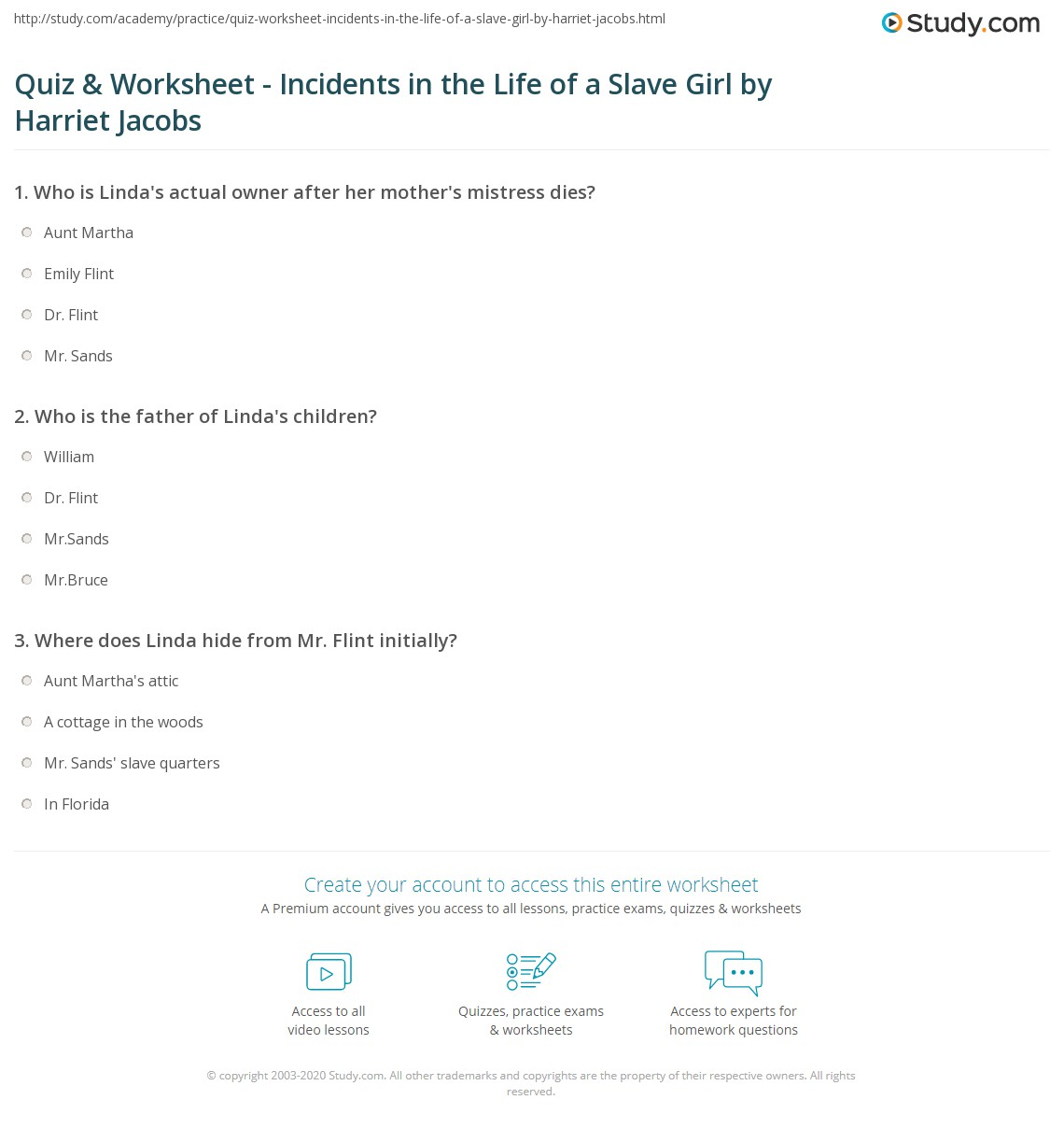 quiz worksheet incidents in the life of a slave girl by  print incidents in the life of a slave girl summary characters themes analysis worksheet