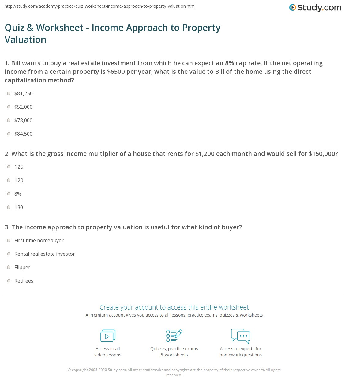 Worksheets Business Valuation Worksheet quiz worksheet income approach to property valuation study com print the worksheet