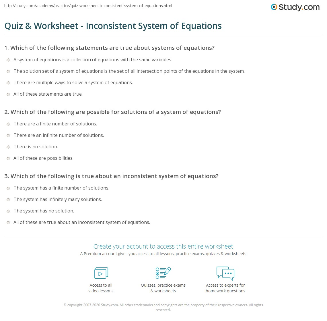 quiz worksheet inconsistent system of equations. Black Bedroom Furniture Sets. Home Design Ideas