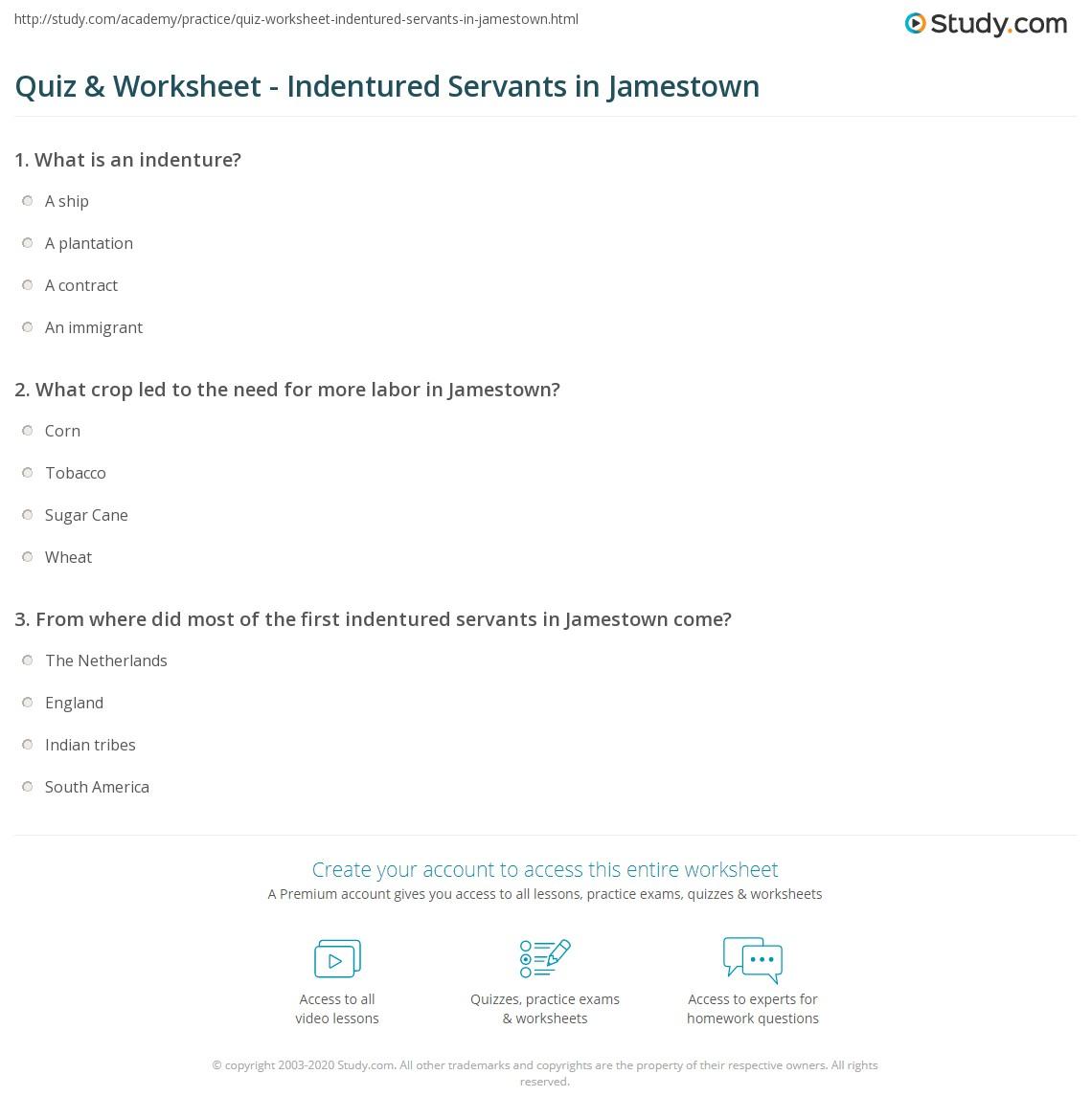 Quiz & Worksheet - Indentured Servants in Jamestown ...