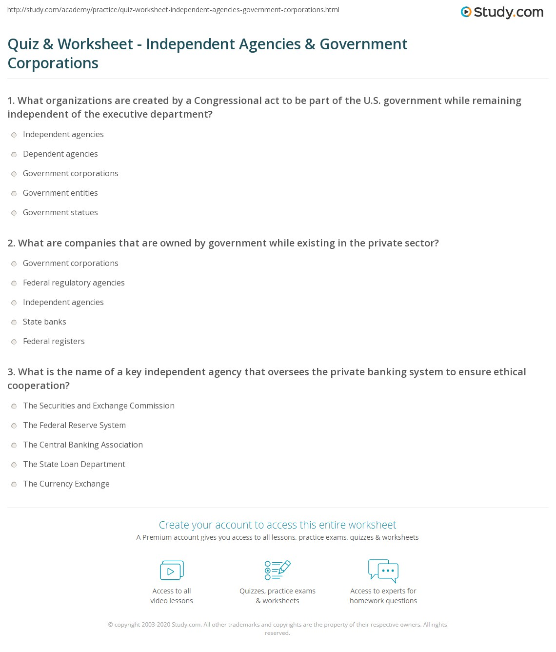 Quiz & Worksheet - Independent Agencies & Government Corporations ...