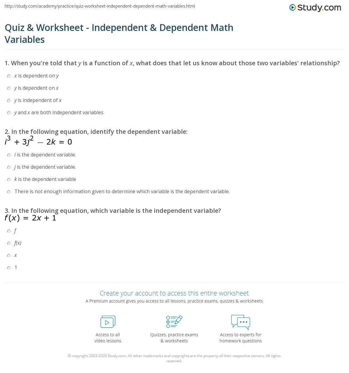 Quiz Worksheet Independent Dependent Math Variables