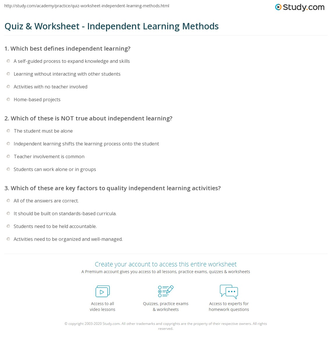 Quiz Worksheet Independent Learning Methods Study