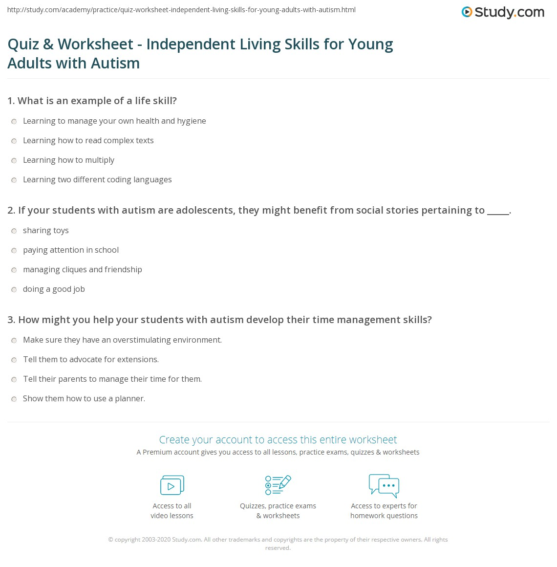 Worksheets Free Independent Living Skills Worksheets quiz worksheet independent living skills for young adults with print teaching life to autism worksheet