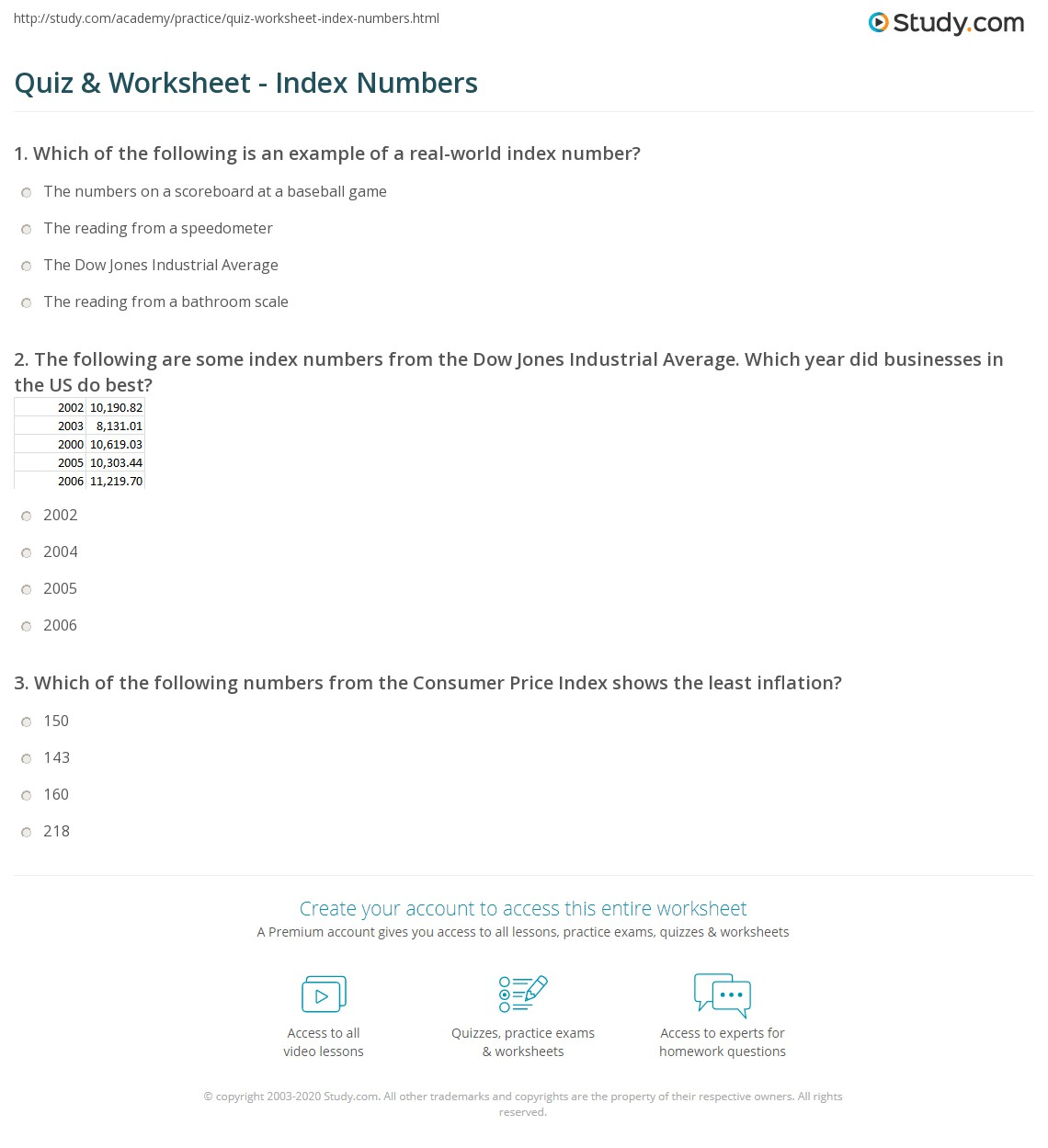 Quiz & Worksheet - Index Numbers | Study.com