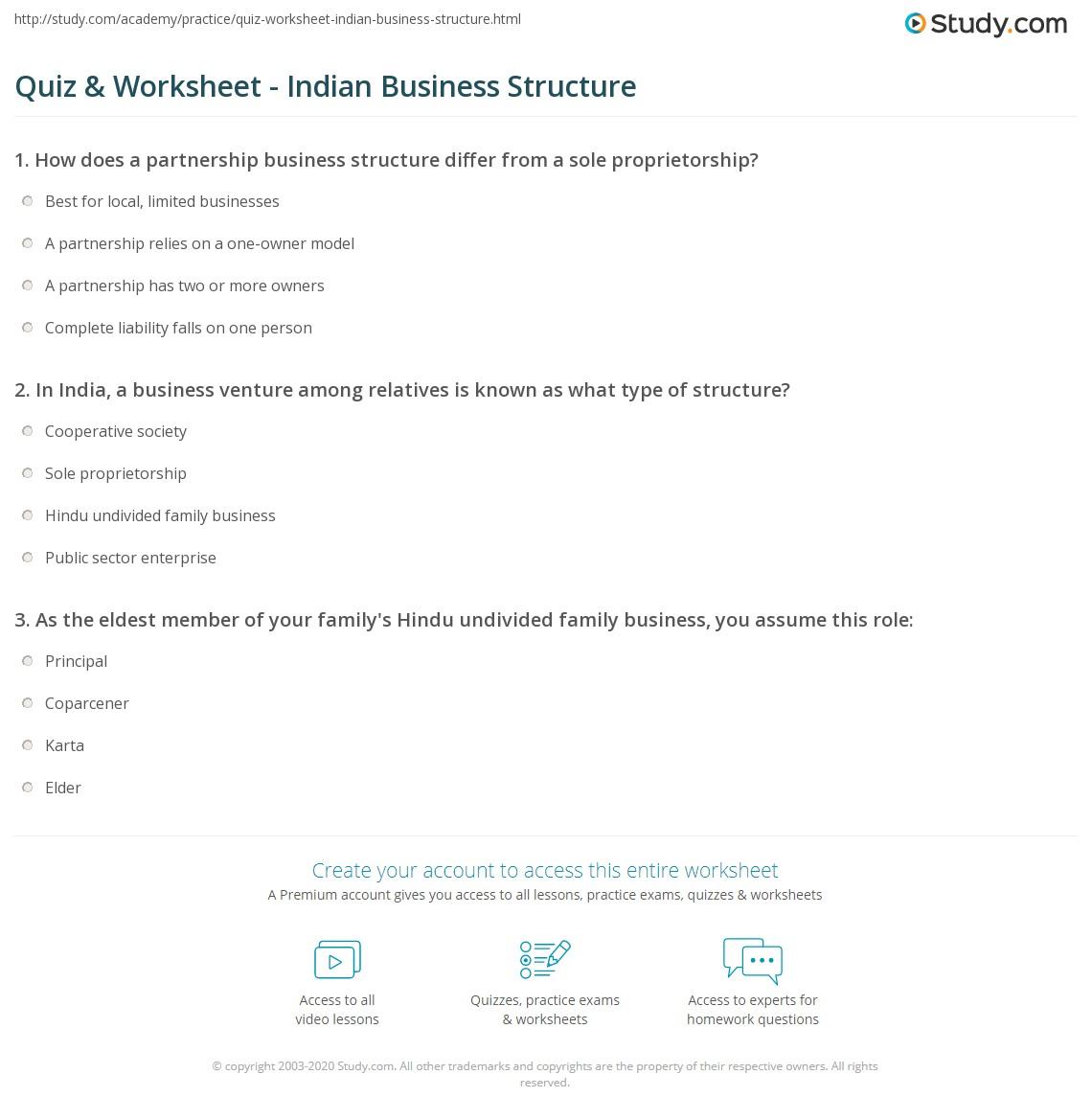 quiz worksheet n business structure study com print business ownership structures in worksheet