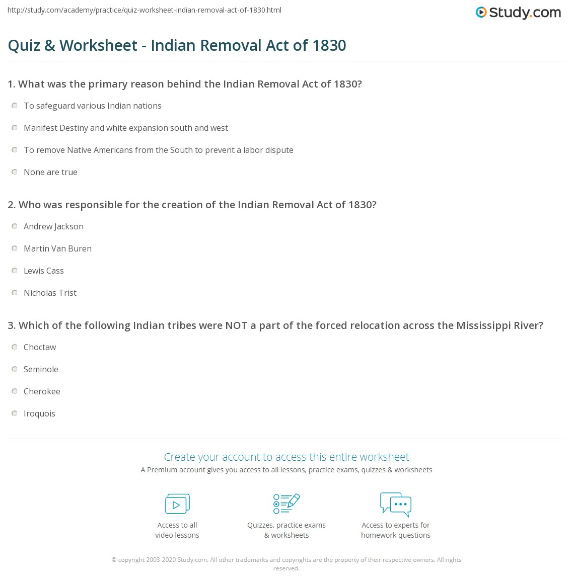 Quiz & Worksheet - Indian Removal Act of 1830 | Study.com