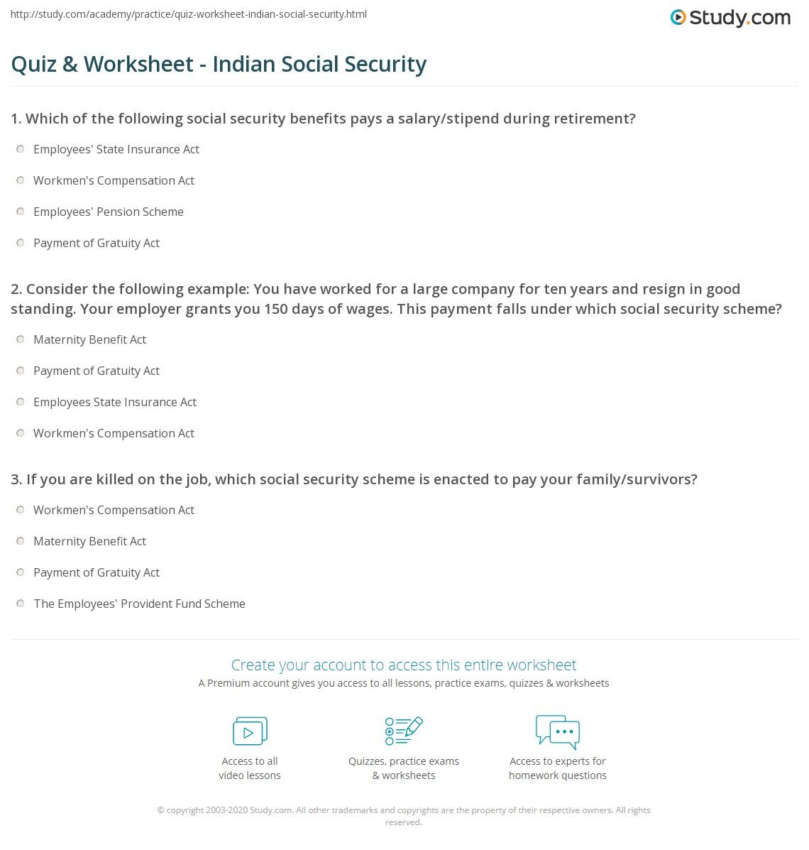 Worksheets Social Security Worksheet quiz worksheet indian social security study com jpg