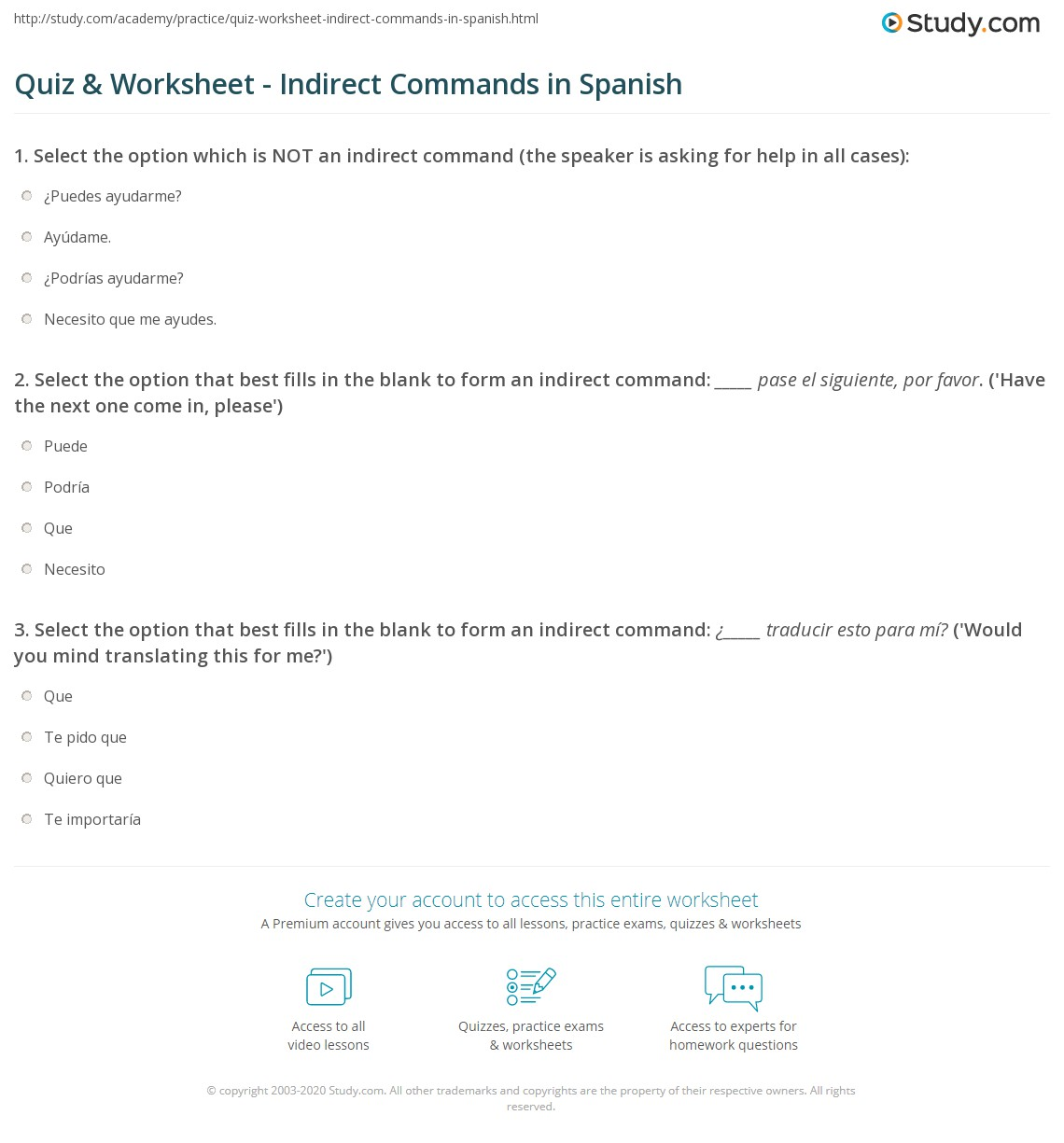quiz worksheet indirect commands in spanish. Black Bedroom Furniture Sets. Home Design Ideas