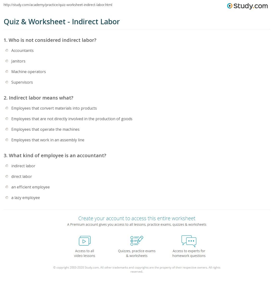 Quiz Worksheet Indirect Labor – Indirect Measurement Worksheet