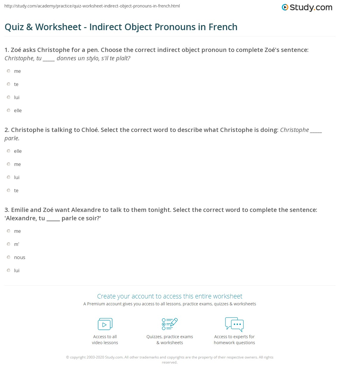 Worksheets Object Pronouns Worksheet quiz worksheet indirect object pronouns in french study com print worksheet