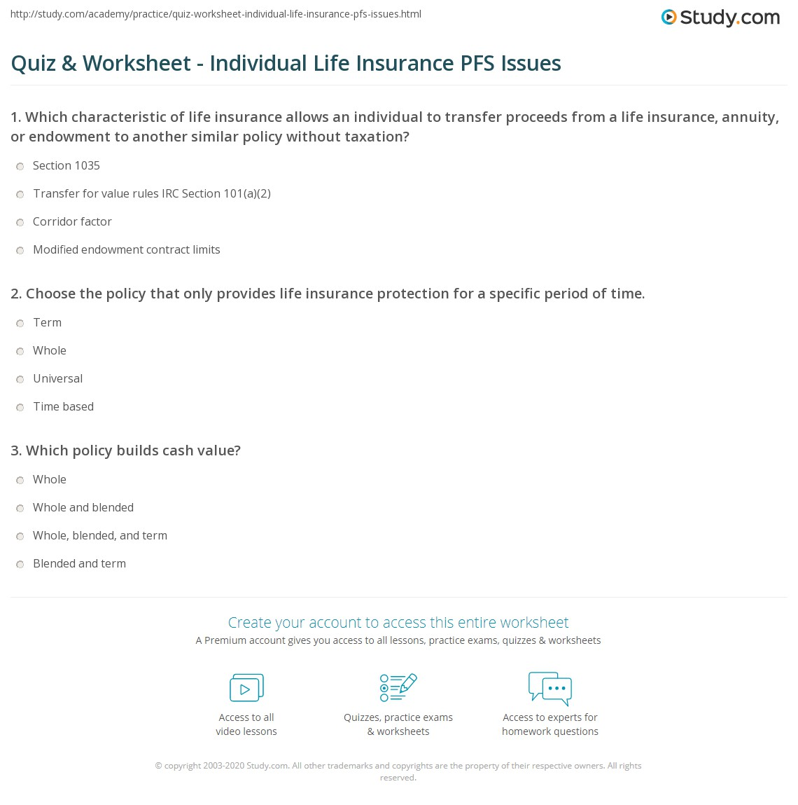 Quiz & Worksheet - Individual Life Insurance PFS Issues ...