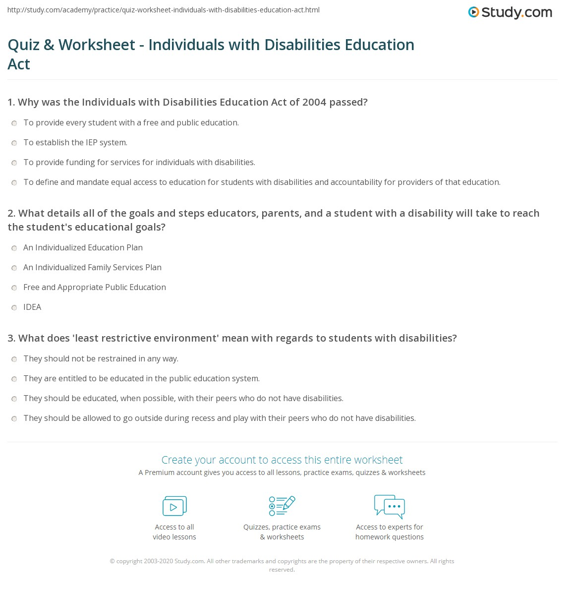 Quiz worksheet individuals with disabilities education act what details all of the goals and steps educators parents and a student with a disability will take to reach the students educational goals xflitez Choice Image