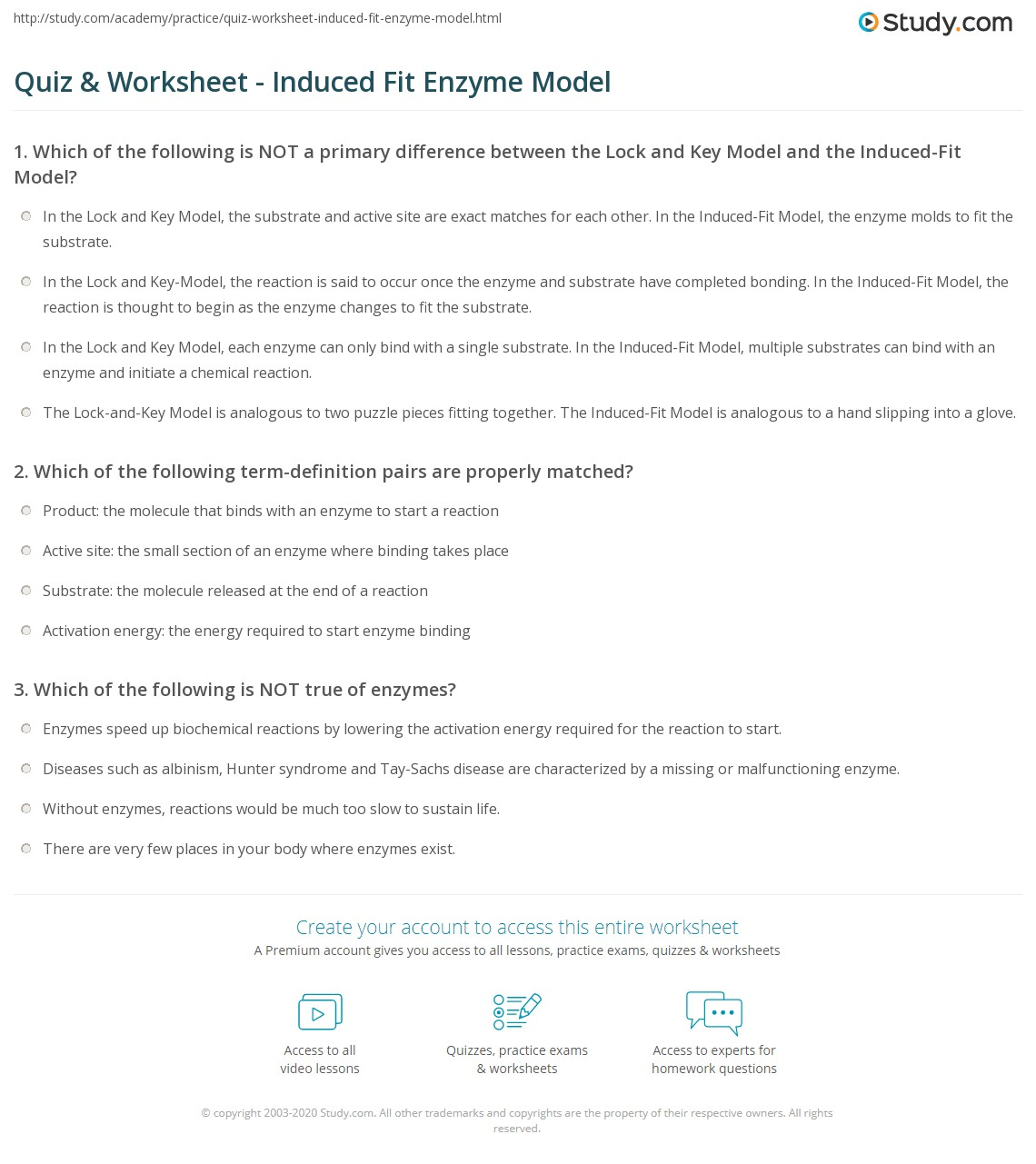 quiz worksheet induced fit enzyme model. Black Bedroom Furniture Sets. Home Design Ideas