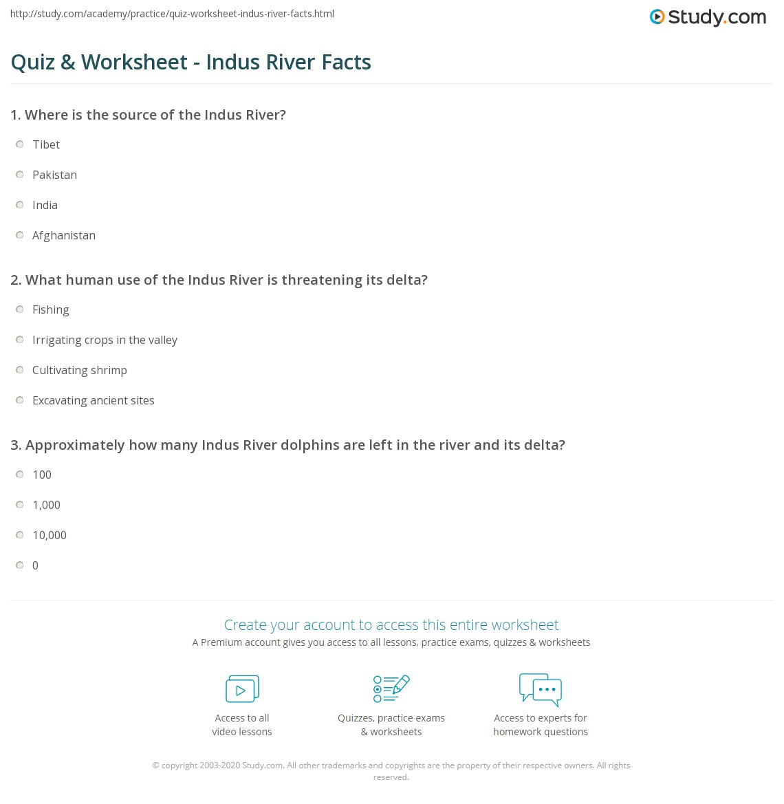 Quiz Worksheet Indus River Facts Studycom - River quiz
