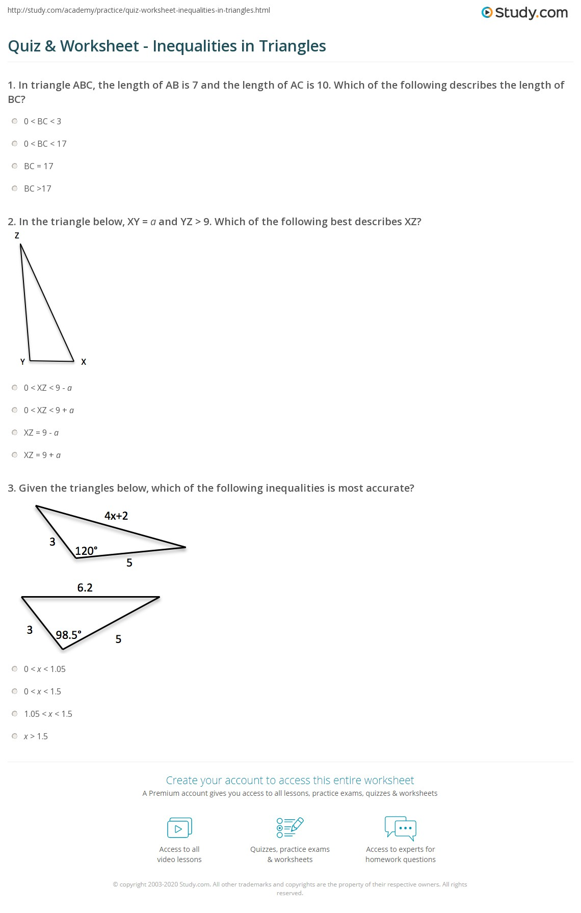 quiz worksheet inequalities in triangles. Black Bedroom Furniture Sets. Home Design Ideas