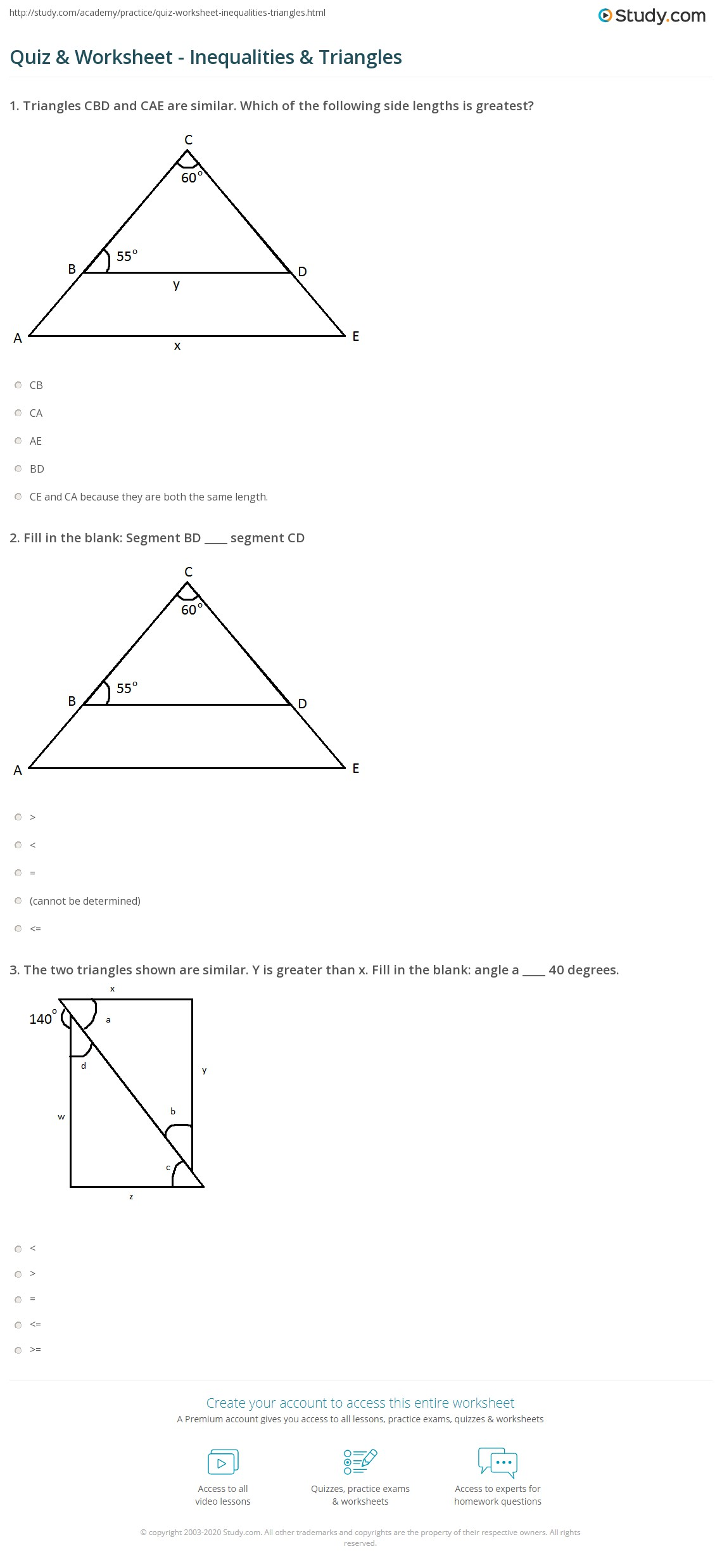 quiz worksheet inequalities triangles. Black Bedroom Furniture Sets. Home Design Ideas