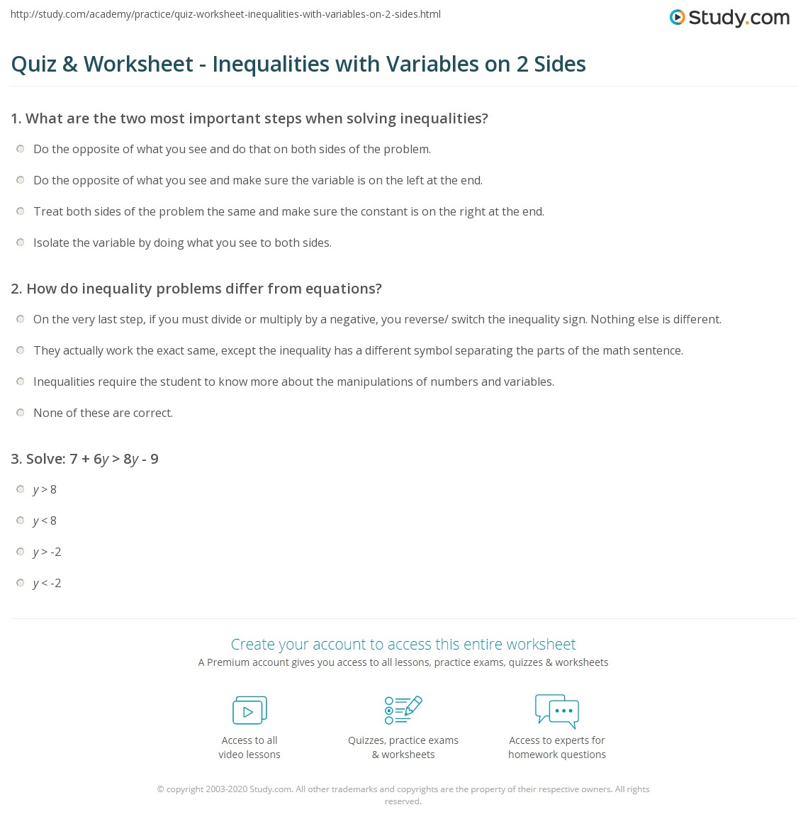 Quiz Worksheet Inequalities With Variables On 2 Sides Study
