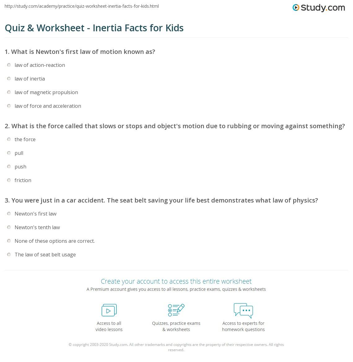 Quiz Worksheet Inertia Facts For Kids Study