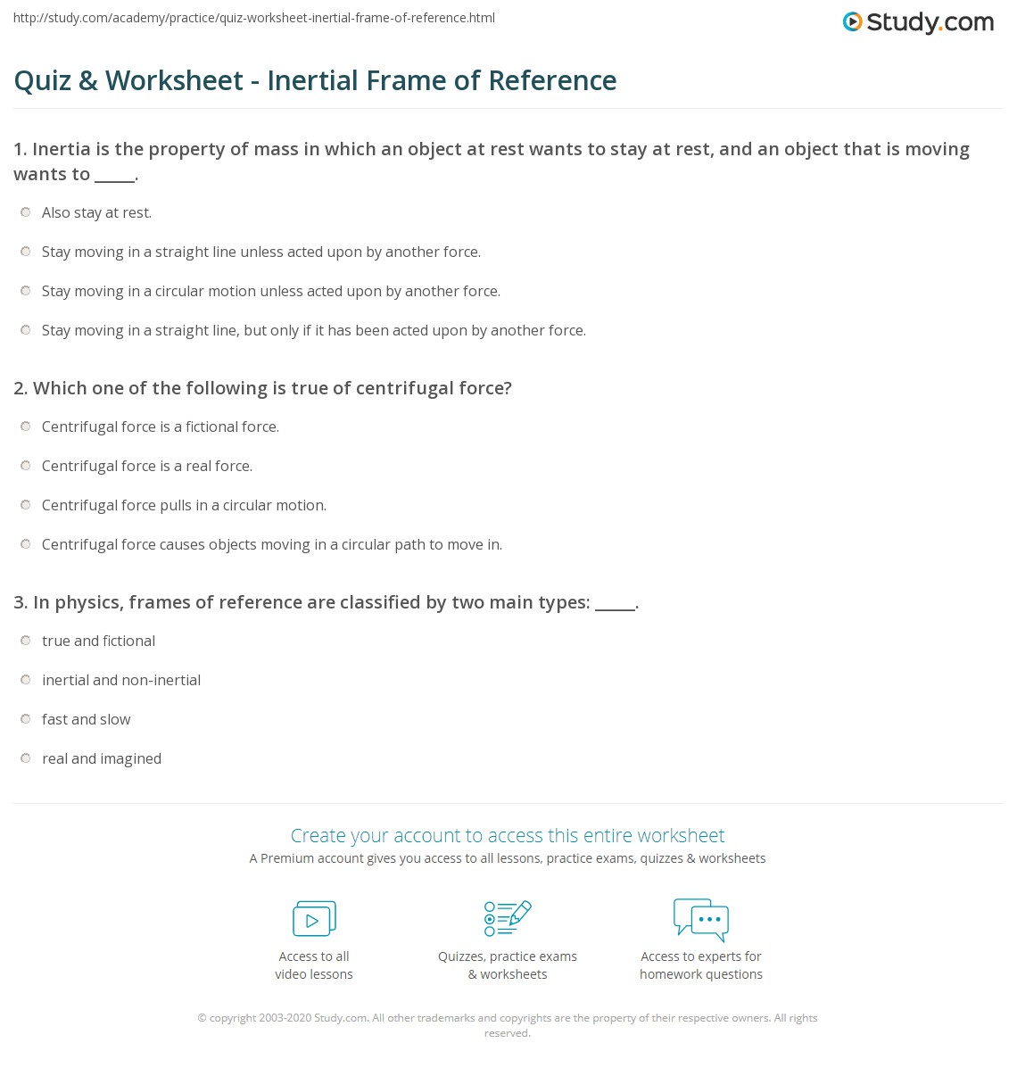 Quiz & Worksheet - Inertial Frame of Reference | Study.com