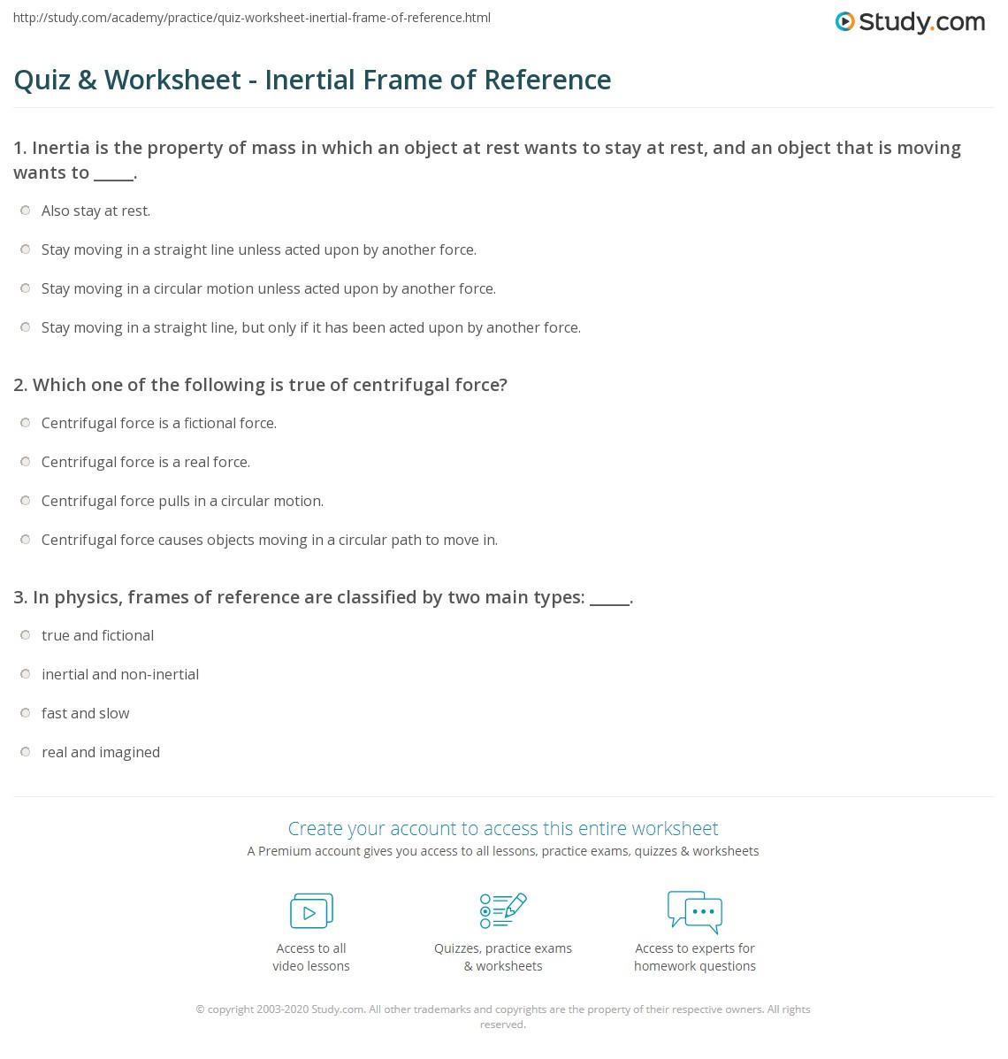 Quiz & Worksheet - Inertial Frame of Reference | Study.com