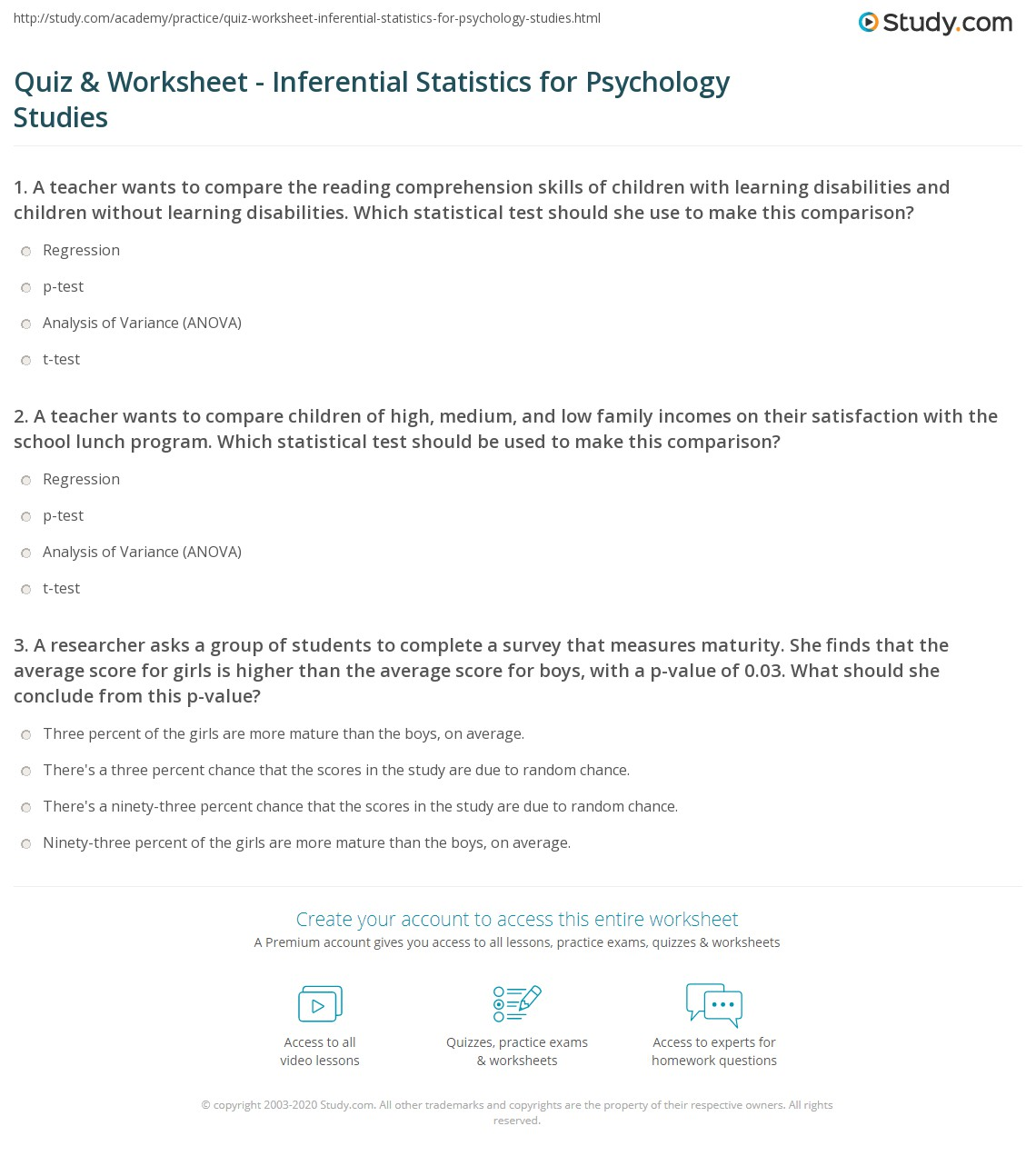 Quiz & Worksheet - Inferential Statistics for Psychology Studies ...
