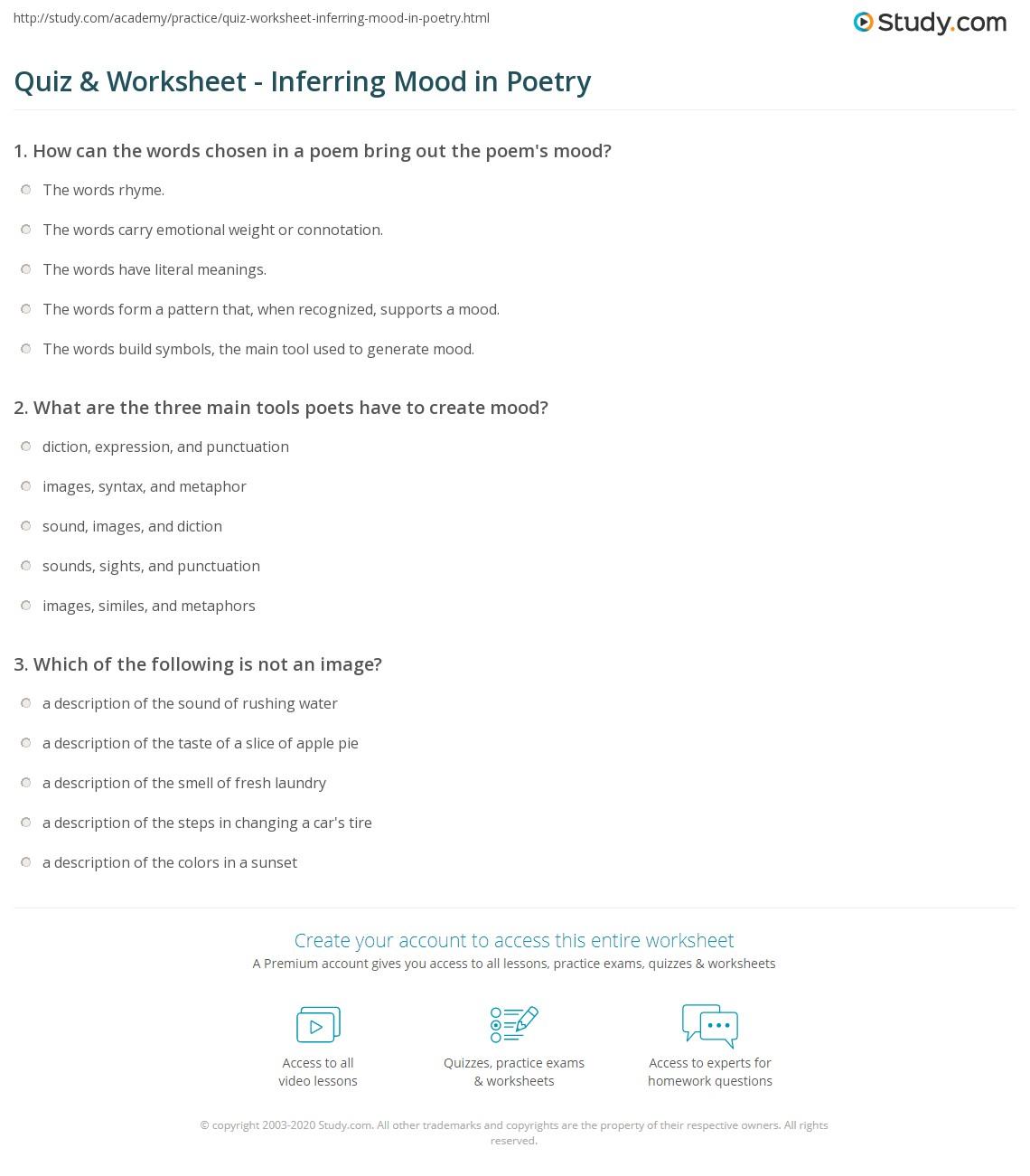Quiz Worksheet Inferring Mood in Poetry – Abi Worksheet