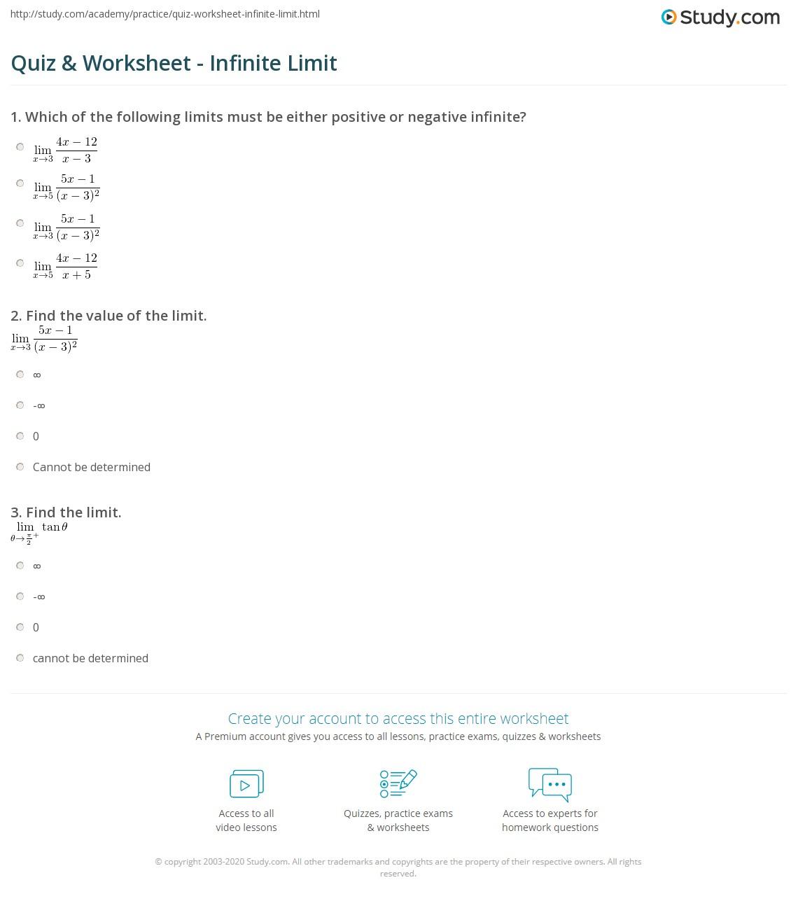 Quiz Worksheet Infinite Limit – Limits at Infinity Worksheet