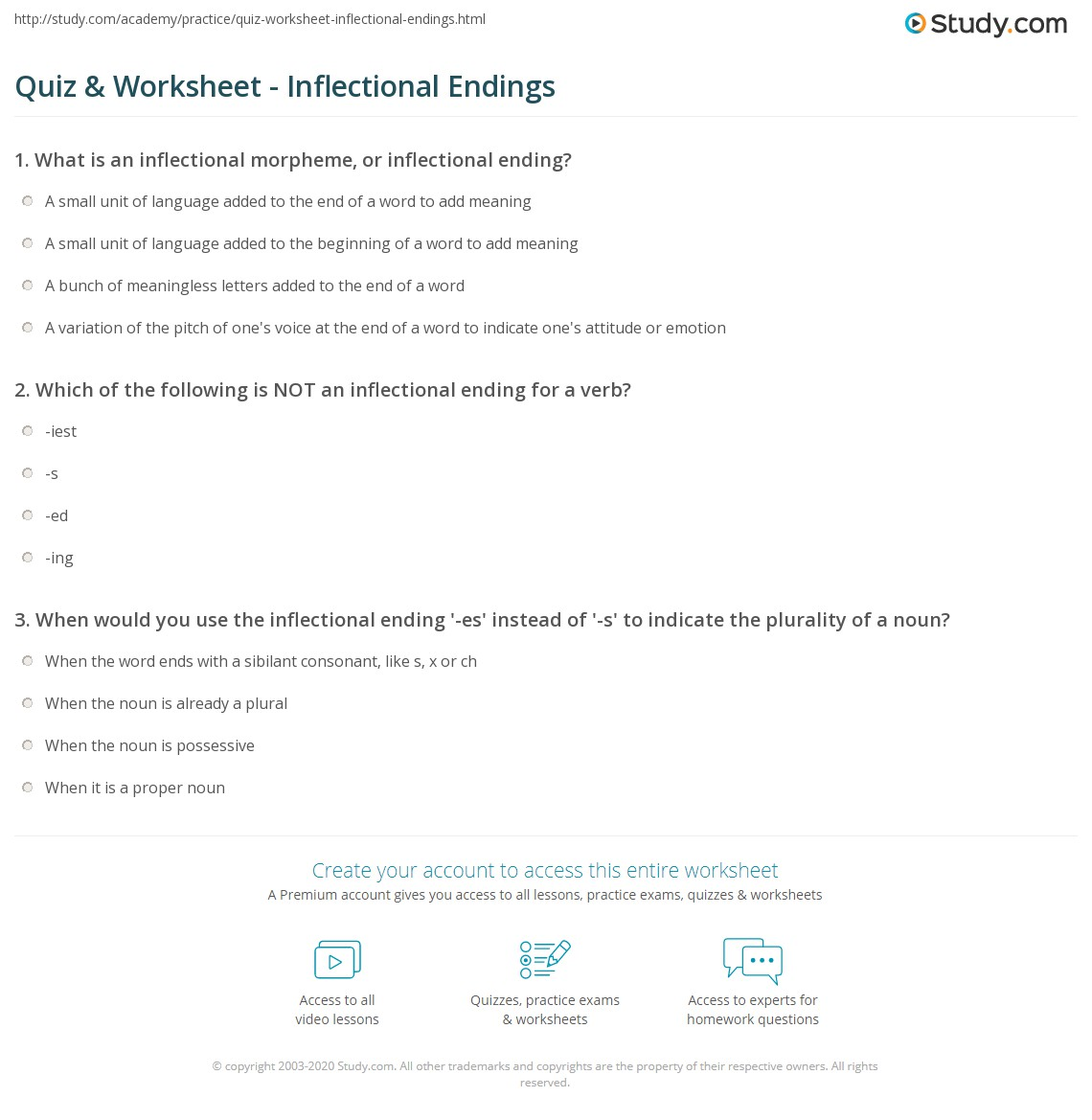 Worksheets Inflectional Endings Worksheet quiz worksheet inflectional endings study com print definition examples worksheet