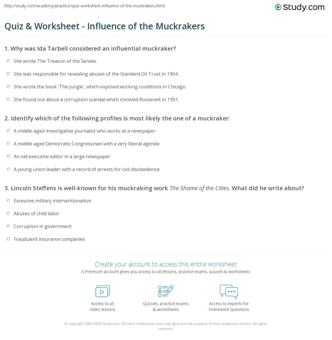 quiz worksheet influence of the muckrakers. Black Bedroom Furniture Sets. Home Design Ideas