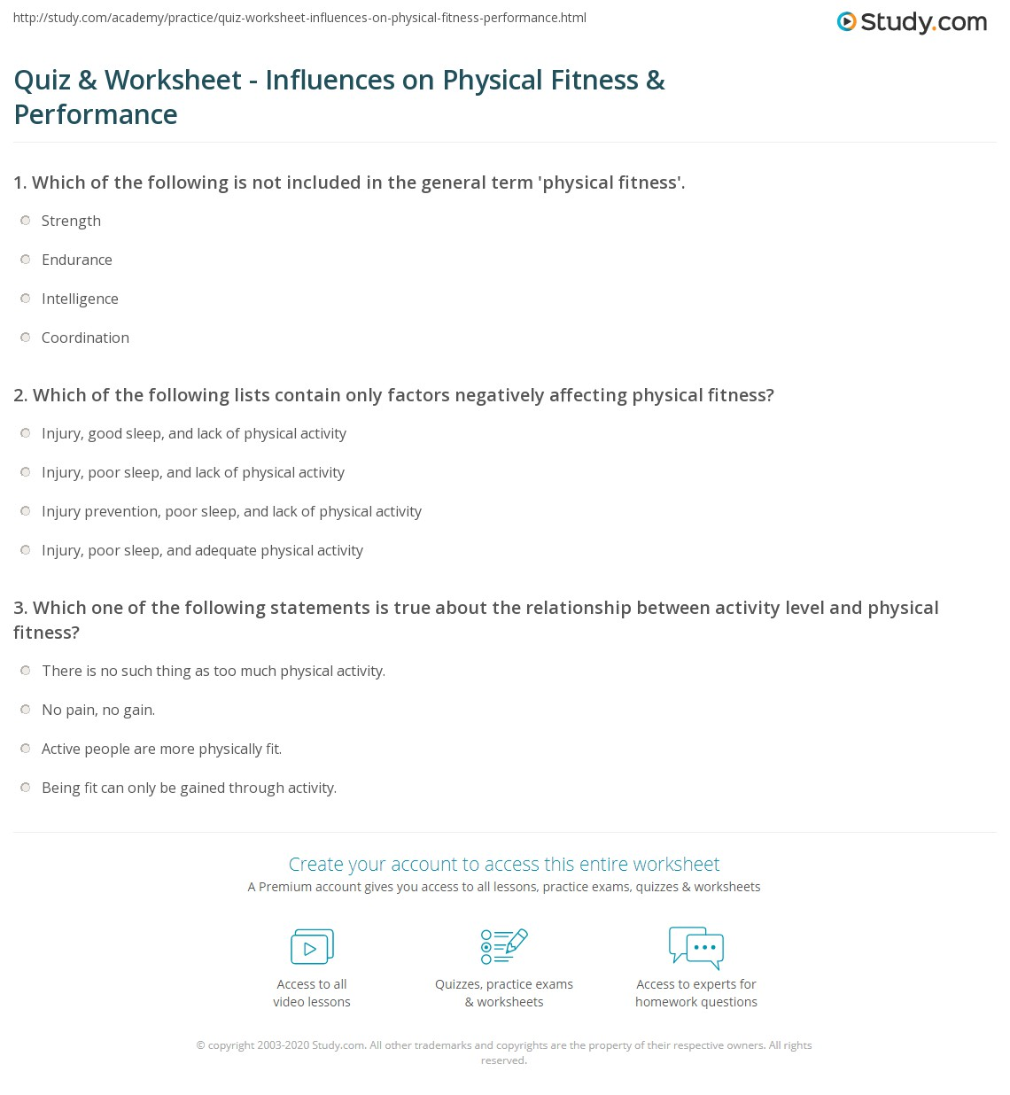 Quiz worksheet influences on physical fitness performance print factors affecting physical fitness performance worksheet xflitez Gallery