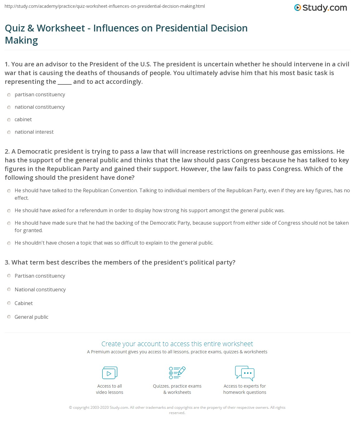 worksheet President Worksheets quiz worksheet influences on presidential decision making a democratic president is trying to pass law that will increase restrictions greenhouse gas emissions he has the support of