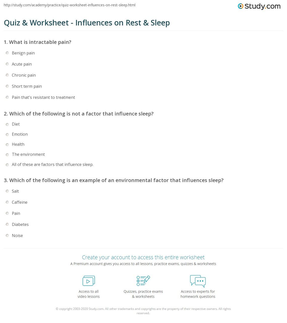 Worksheets Sleep Hygiene Worksheet quiz worksheet influences on rest sleep study com print factors that influence worksheet
