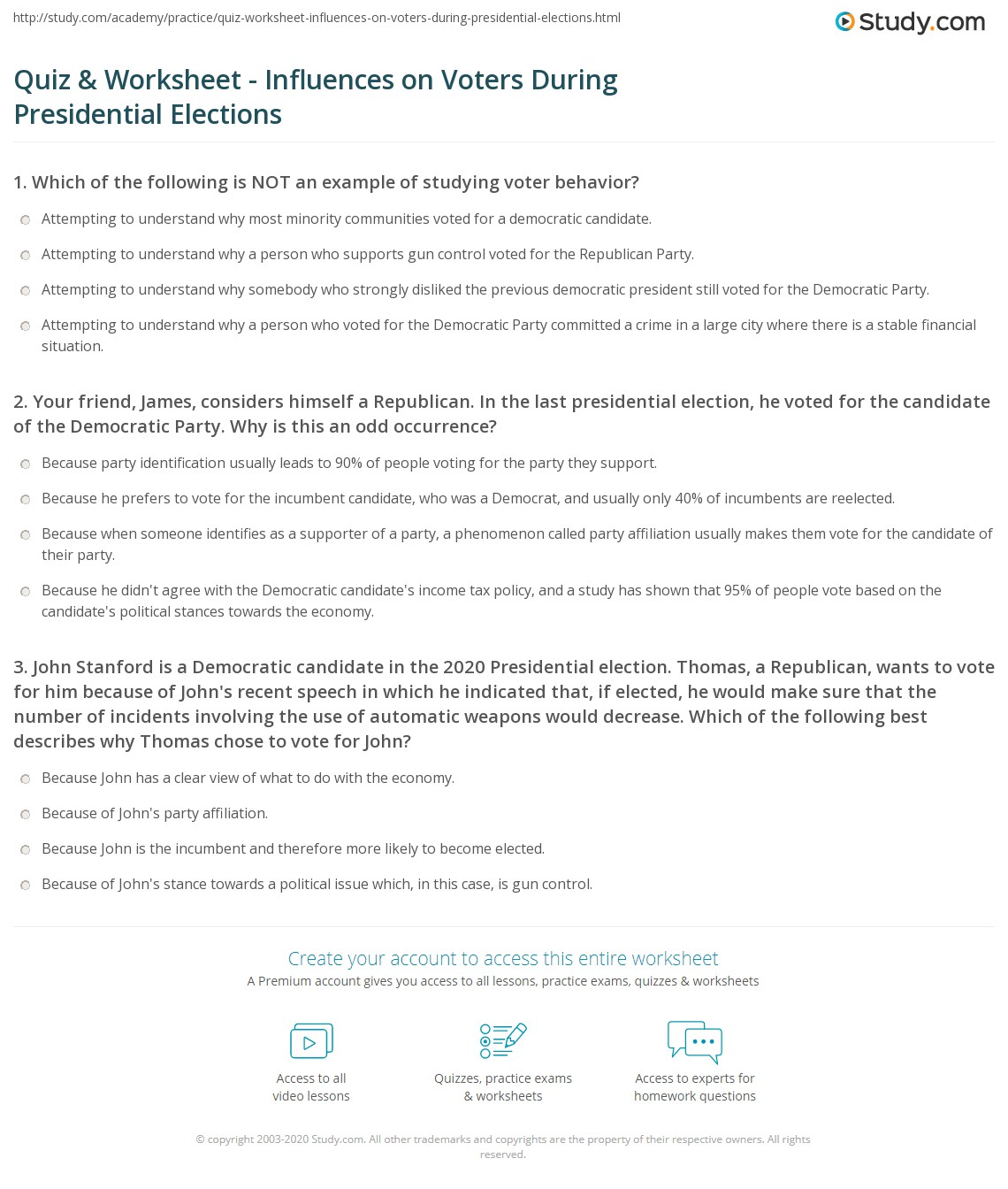 Quiz Worksheet Influences on Voters During Presidential – Election Day Worksheets