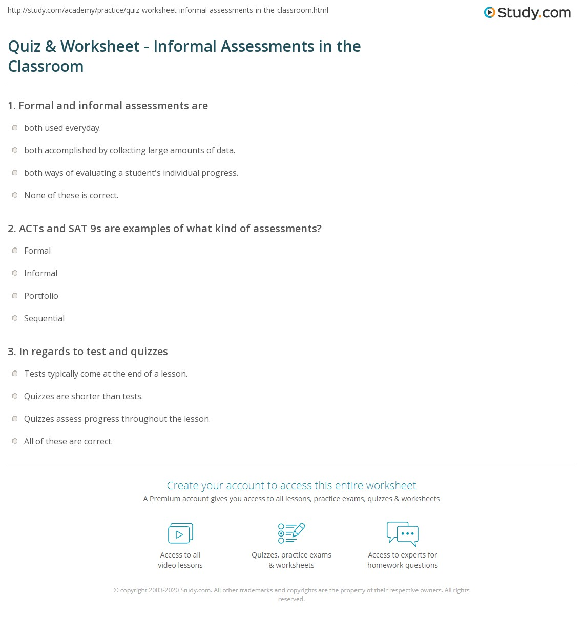 Quiz Worksheet Informal Assessments In The Classroom Study