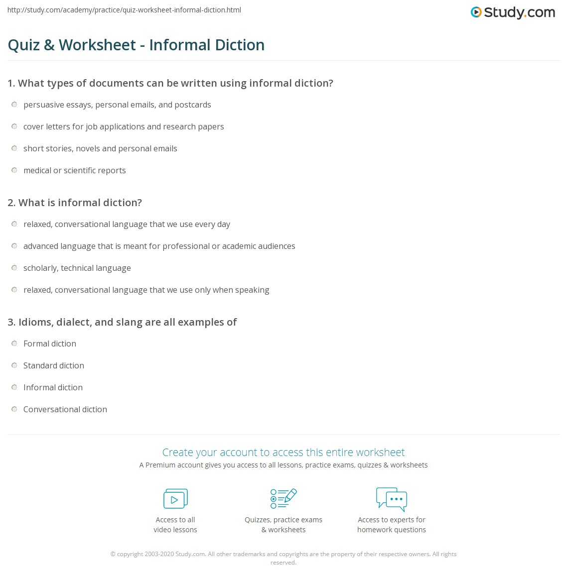 Quiz Worksheet Informal Diction Study