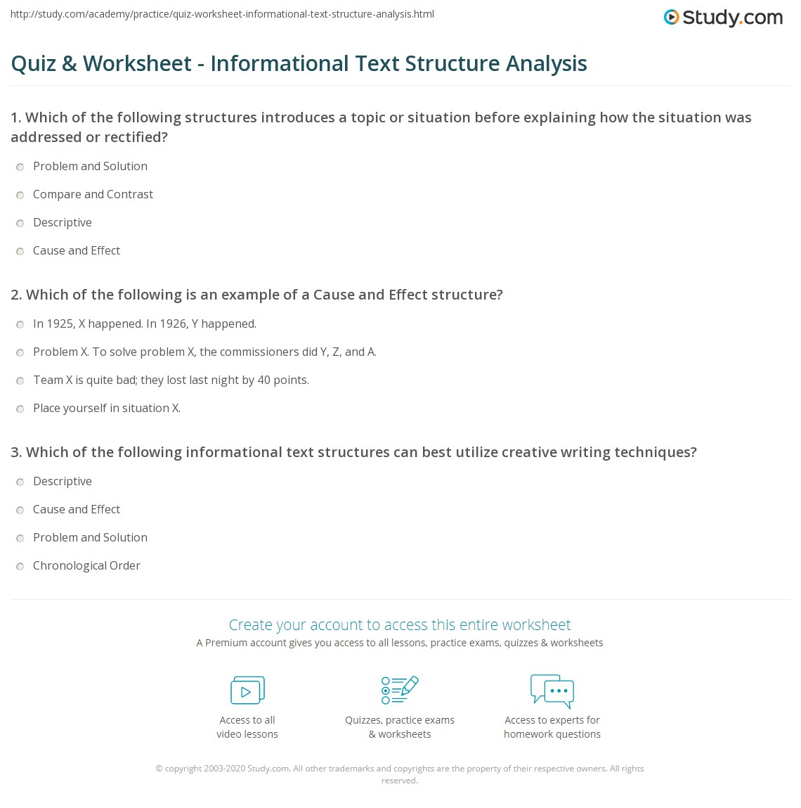 Quiz Worksheet Informational Text Structure Analysis Study