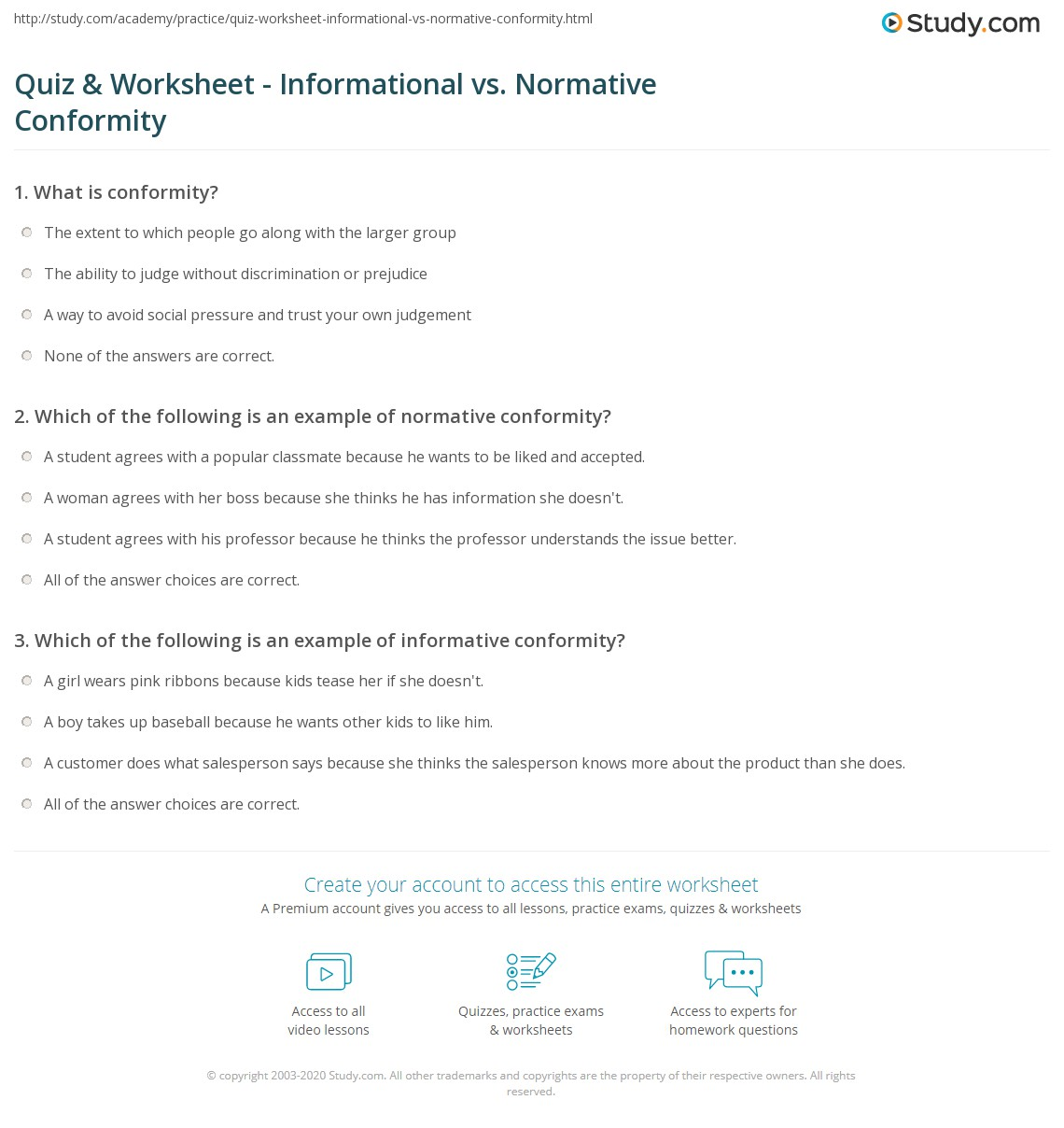 quiz worksheet informational vs normative conformity study com print conformity solomon asch s study of informational vs normative conformity worksheet