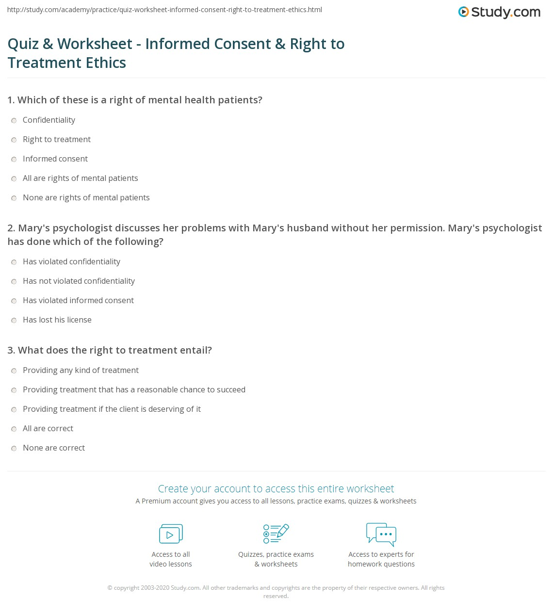 Quiz & Worksheet - Informed Consent & Right to Treatment Ethics