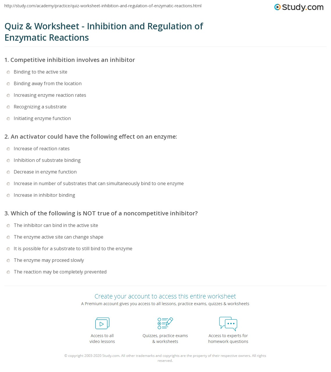 quiz worksheet inhibition and regulation of enzymatic reactions. Black Bedroom Furniture Sets. Home Design Ideas